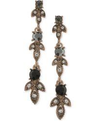 Marchesa | Gold-tone Clear & Jet Crystal Linear Drop Earrings | Lyst