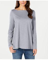 Eileen Fisher - Organic Cotton Bateau-neck Top, Regular & Petite - Lyst