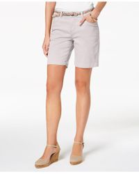 Lee Platinum - Petite Belted Stretch Denim Shorts - Lyst
