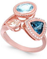 Macy's - Multi-gemstone (2-1/4 Ct. T.w.) & Diamond (1/10 Ct. T.w.) Cluster Ring In 14k Rose Gold-plated Sterling Silver - Lyst