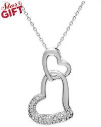 Macy's - Sterling Silver Diamond Double Heart Pendant Necklace (1/10 Ct. T.w.) - Lyst
