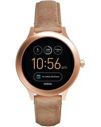 Fossil - Women's Q Venture Gen 3 Light Brown Leather Strap Smart Watch 42mm - Lyst