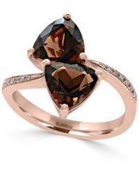 Effy Collection - Smoky Quartz (3-3/8 Ct. T.w.) And Diamond Accent Bypass Ring In 14k Rose Gold - Lyst