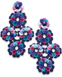 Kate Spade | Colored Stone, Sequin, Bead & Fabric Flower Drop Earrings | Lyst