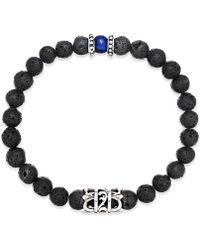 Macy's - Men's Onyx Lava Bead Bracelet In Stainless Steel - Lyst