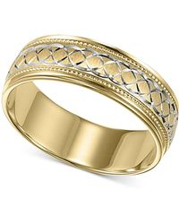 Macy's - Men's 10k Gold And 10k White Gold Ring, Engraved Wedding Band - Lyst