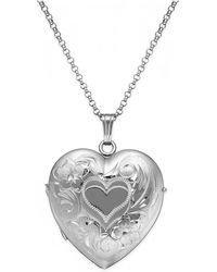 Macy's - Embossed Four-picture Heart Locket In Sterling Silver - Lyst