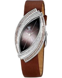 Le Vian - Women's Time Duo Diamond (2-1/4 Ct. T.w.) Brown Satin Strap 27x49mm - Lyst