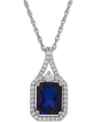 Macy's - Lab-created Blue Sapphire (3 Ct. T.w.) And White Sapphire (1/4 Ct. T.w.) Pendant Necklace In Sterling Silver - Lyst