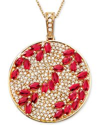 Effy Collection - Ruby (3-1/3 Ct. T.w.) & Diamond (9/10 Ct. T.w.) Pendant In 14k Rose Gold - Lyst