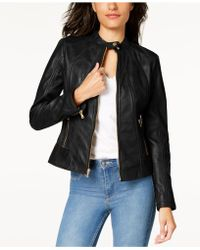 Guess - Leather Moto Jacket - Lyst