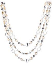 Nine West | Tri-tone Disc Triple-row Collar Necklace | Lyst