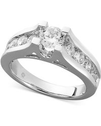 Macy's - Diamond Channel Engagement Ring In 14k White Gold (1-1/2 Ct. T.w.) - Lyst