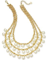 """Charter Club - Gold-tone Imitation Pearl Triple-row Statement Necklace, 17"""" + 2"""" Extender, Created For Macy's - Lyst"""