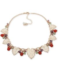 """Lonna & Lilly - Gold-tone Leaf & Bead Shaky Statement Necklace, 16"""" + 3"""" Extender - Lyst"""