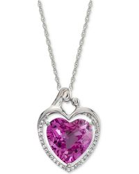 Macy's - Lab-created Pink Sapphire (5-7/8 Ct. T.w.) & White Sapphire (1/6 Ct. T.w.) Heart Pendant Necklace In Sterling Silver - Lyst
