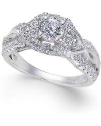 Macy's - Diamond Square Halo Twist Ring (1 Ct. T.w.) In 14k White Gold - Lyst