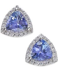 Effy Collection - Effy Tanzanite (3/4 Ct. T.w.) And Diamond (1/8 Ct. T.w.) Stud Earrings In 14k White Gold - Lyst