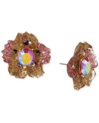 Betsey Johnson - Gold-tone Glittery Stone Stud Earrings - Lyst