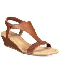 2eeaf5580296b6 Lyst - Sam Edelman Open Toe Wedge Sandals - Silvia in Natural