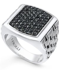 Macy's - Men's Sterling Silver Ring, Black Sapphire Square (2 Ct. T.w.) - Lyst