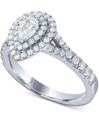 Macy's - Diamond Pear Double Halo Engagement Ring (1 Ct. T.w.) In 14k White Gold - Lyst
