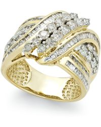 Macy's - Diamond Double-row Center Ring (2 Ct. T.w.) In 14k White Or Yellow Gold - Lyst