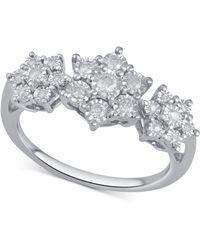 Macy's - Diamond Triple Cluster Ring (1/4 Ct. T.w.) In Sterling Silver - Lyst