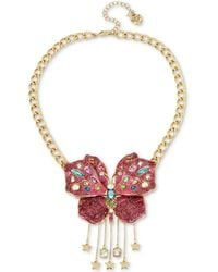 """Betsey Johnson - Gold-tone Glittery Butterfly Collar Necklace, 16"""" + 3"""" Extender - Lyst"""