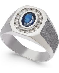 Macy's - Sapphire (1 Ct. T.w.) & Diamond (3/8 Ct. T.w.) Textured Ring In 14k White Gold - Lyst