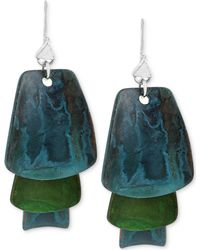 Robert Lee Morris - Silver-tone Layered Blue And Green Patina Earrings - Lyst