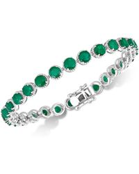 Macy's - Emerald Rope-framed Link Bracelet (14 Ct. T.w.) In Sterling Silver - Lyst