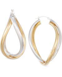 Macy's - Interlocking Hoop Earrings In Two-tone 14k Gold - Lyst