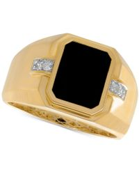 Macy's - Men's Onyx (8 X 10mm) & Diamond Accent Ring In 10k Gold - Lyst