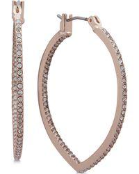 Anne Klein - Pavé Pointed Hoop Earrings - Lyst