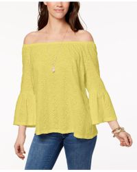 Style & Co. - Petite Off-the-shoulder Cotton Eyelet Top, Created For Macy's - Lyst