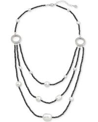 Majorica - Two-tone Sterling Silver Imitation Pearl Multi-row Necklace - Lyst