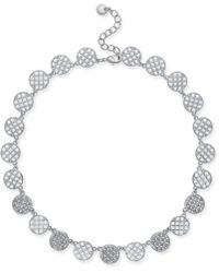 "Charter Club - Silver-tone Openwork & Pavé Disc Collar Necklace, 18"" + 2"" Extender, Created For Macy's - Lyst"