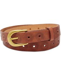 Fossil - Floral Perforated Embossed Leather Belt - Lyst