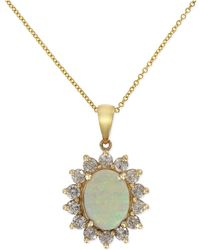Effy Collection - Opal (1-7/8 Ct. T.w.) And Diamond (1 Ct. T.w.) Pendant Necklace In 14k Gold - Lyst