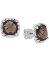 Macy's - Smoky Quartz Rope Frame Stud Earrings (8 Ct. T.w.) In Sterling Silver (also In Blue Topaz, Light Amethyst & Dark Amethyst) - Lyst