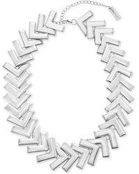 "Steve Madden - Silver-tone Arrow Collar Necklace, 18"" + 4"" Extender - Lyst"