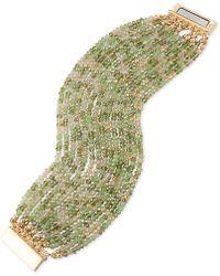 ABS By Allen Schwartz - Gold-tone Green & Clear Beaded Stretch Bracelet - Lyst