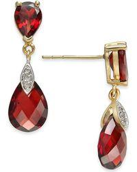 Macy's - Rhodolite Garnet (6-9/10 Ct. T.w.) & Diamond Accent Drop Earrings In 14k Gold - Lyst