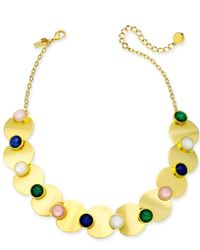"""Kate Spade - Gold-tone Multi-stone Collar Necklace, 17"""" + 3"""" Extender - Lyst"""