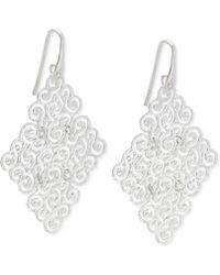 Macy's - Geometric Filigree Drop Earrings In Sterling Silver - Lyst