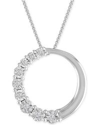 Macy's - Diamond Accent Circle Pendant Necklace In 10k White Gold - Lyst