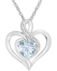 Macy's - Aquamarine (1-1/10 Ct. T.w.) And Diamond Accent Heart Pendant Necklace In Sterling Silver - Lyst