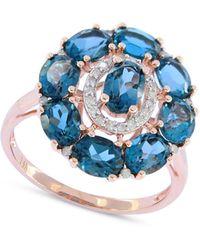 Macy's - London Blue Topaz (4-1/2 Ct. T.w.) & Diamond (1/8 Ct. T.w.) Ring In 14k Rose Gold - Lyst