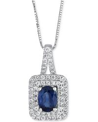 Macy's - Sapphire (9/10 Ct. T.w.) & Diamond (2/5 Ct. T.w.) Pendant Necklace In 14k White Gold - Lyst